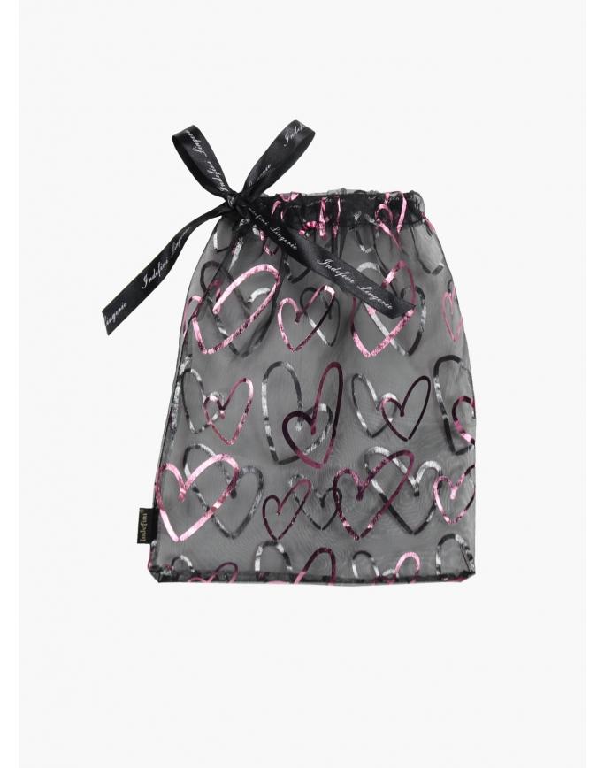 """Подарочный мешочек большой черный+розовый """" Индефини"""""""